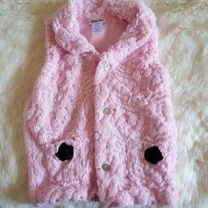 Little Lass girls pink faux fur vest